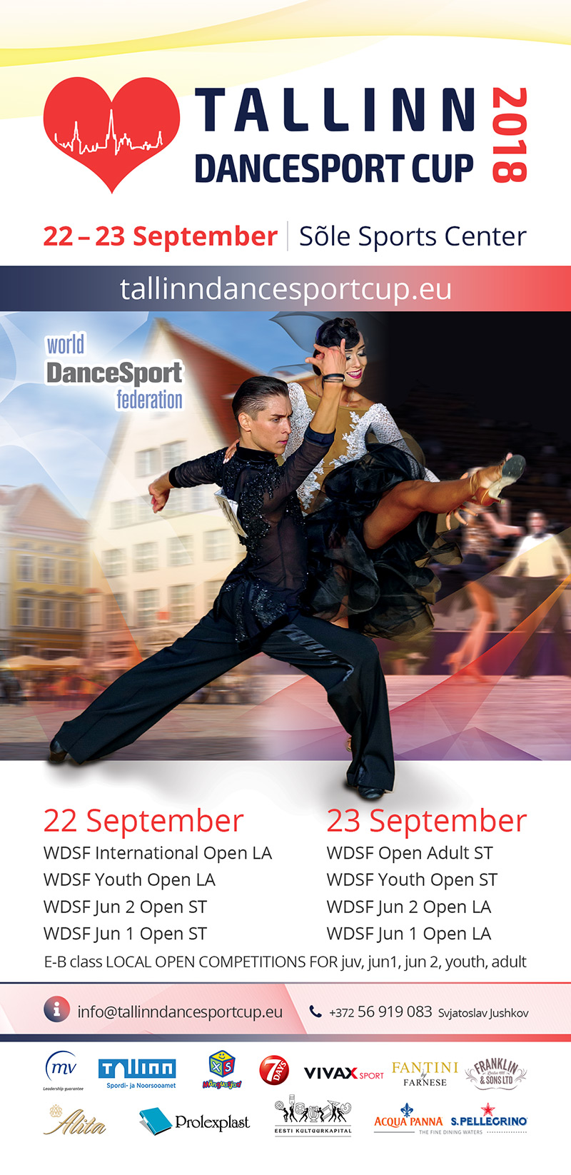 Tallinn Dance Sport Cup 2018, 22 – 23 September in Sõle Sports Center